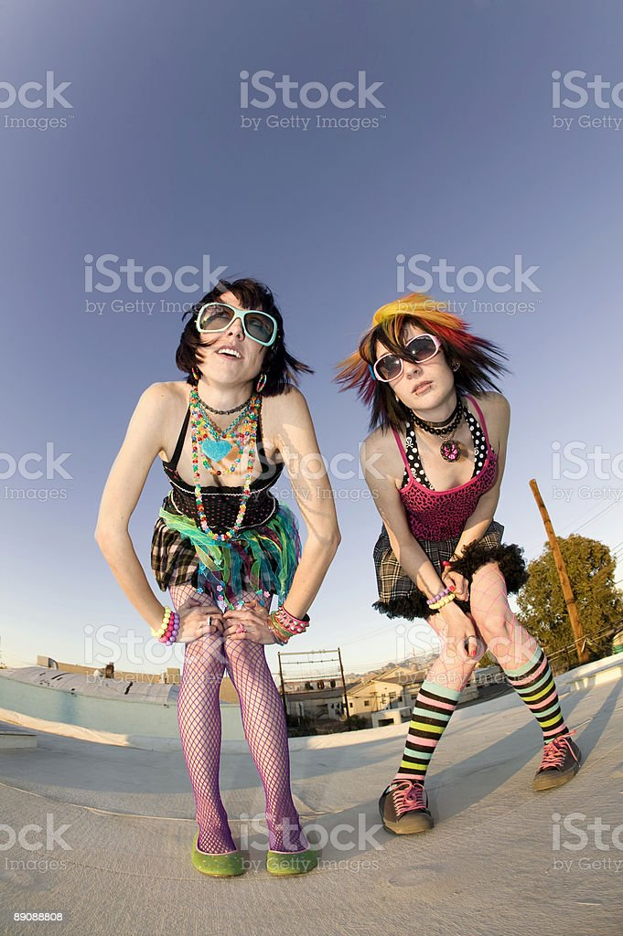 Punk Girls on a Roof stock photo