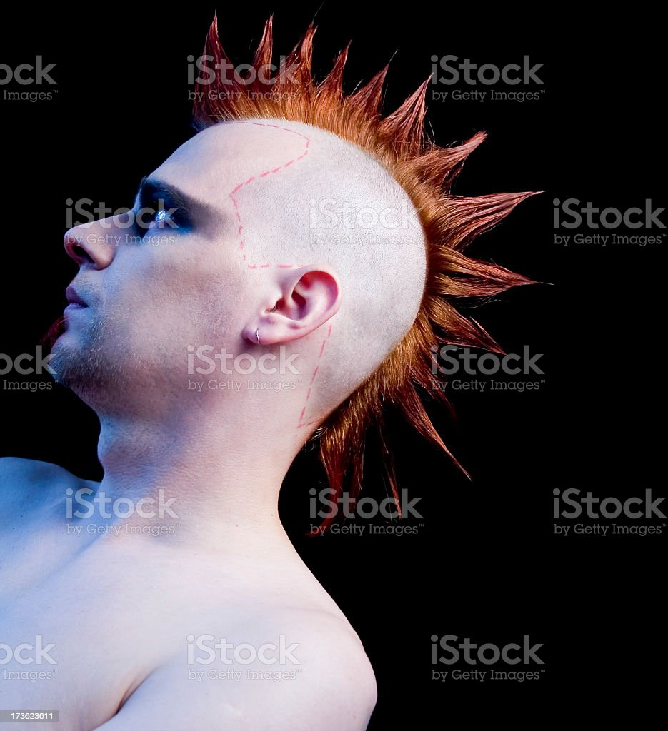 Punk male with mohawk hairstyle on black background royalty-free stock photo
