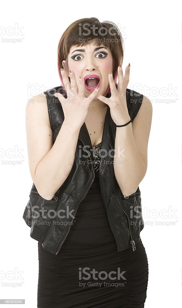 punk screaming and desperating stock photo