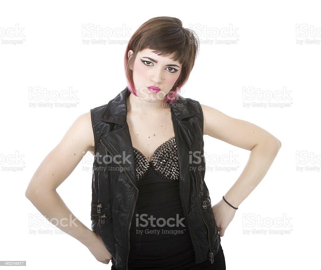 punk woman anger stock photo