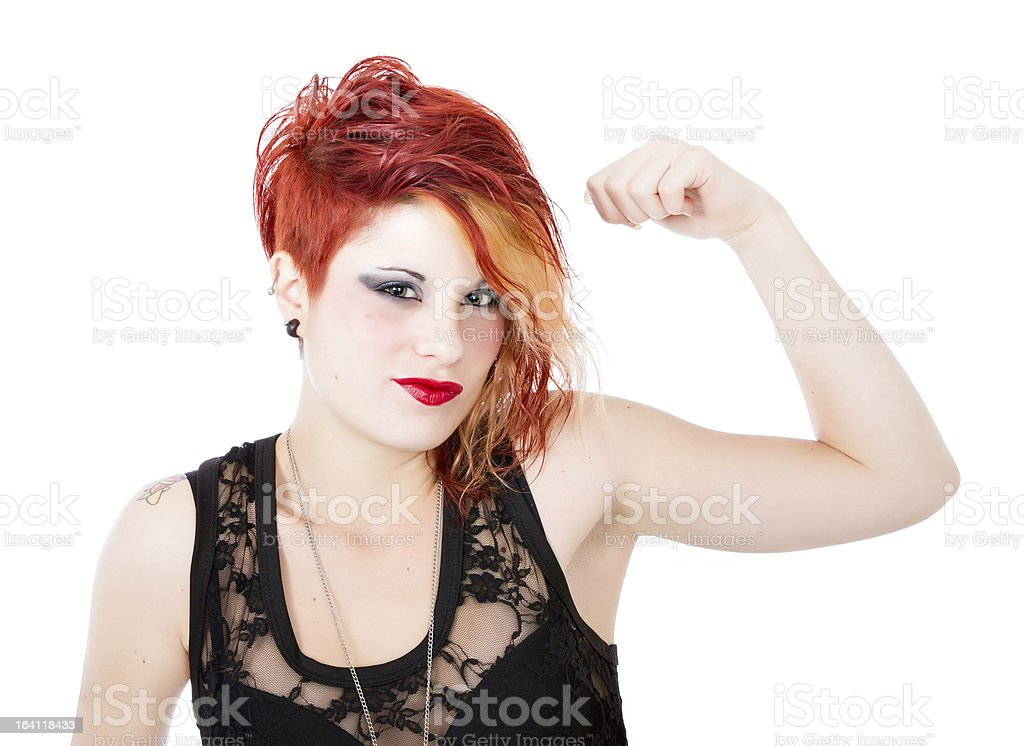 punk woman biceps symbol royalty-free stock photo