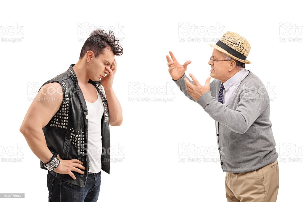 Punker having an argument with a senior stock photo
