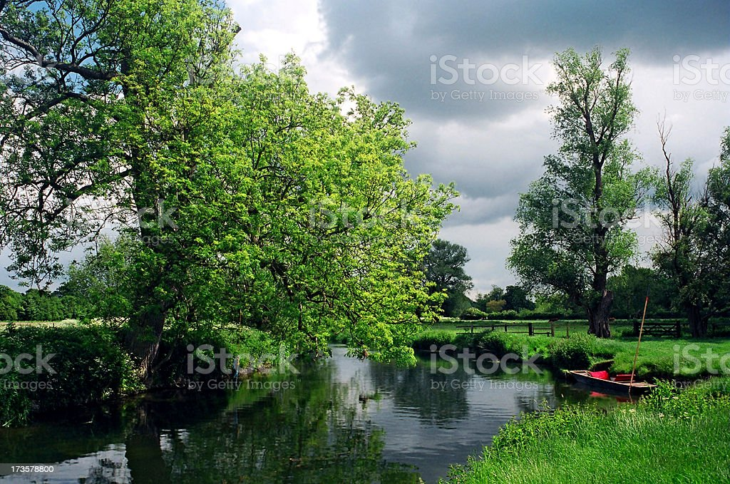 Punt by the Orchard, Grantchester royalty-free stock photo