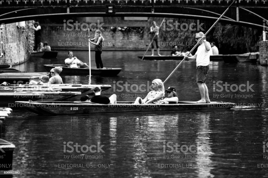 Punt hire on the River Cam stock photo