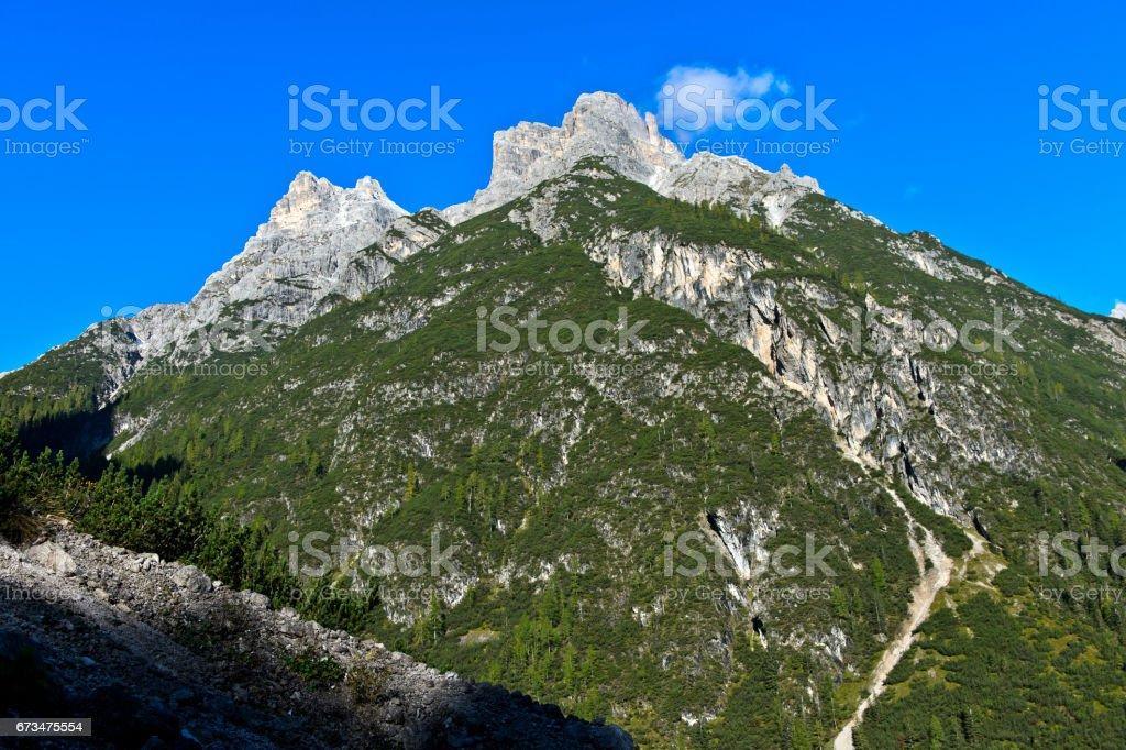 Punta dei Tre Scarperi, Sesto, Sesto Dolomites stock photo
