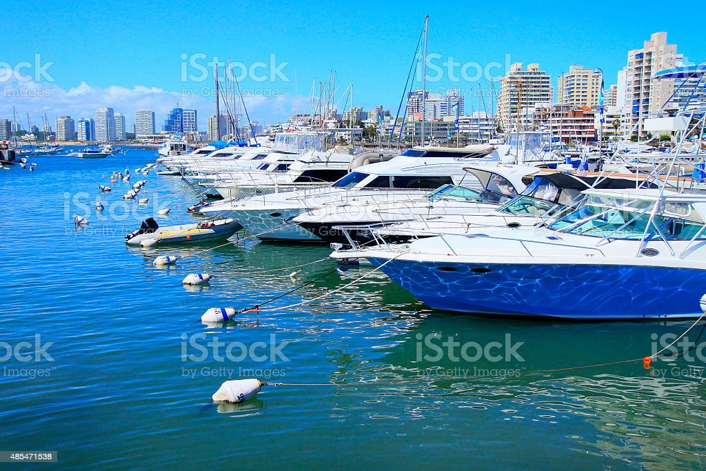 Punta Del Este Marina and yachts city panorama, Uruguay! stock photo