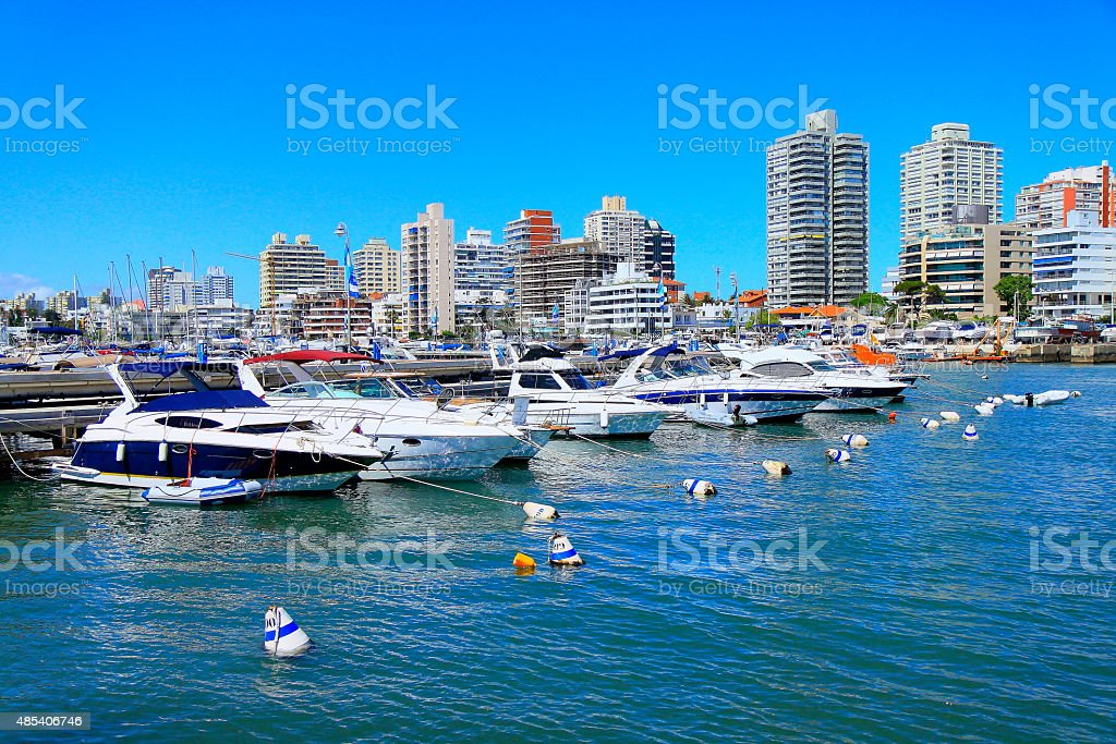 Punta Del Este, Uruguay! Marina yachts and city panorama stock photo
