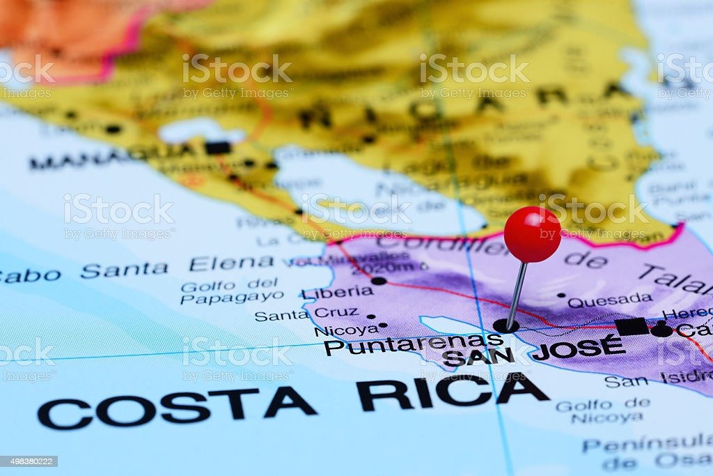 Puntarenas pinned on a map of America stock photo