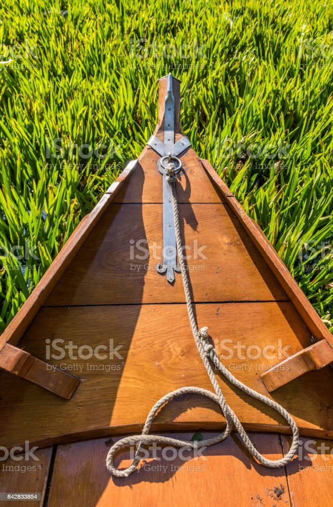Punter Boat and Waterplants stock photo