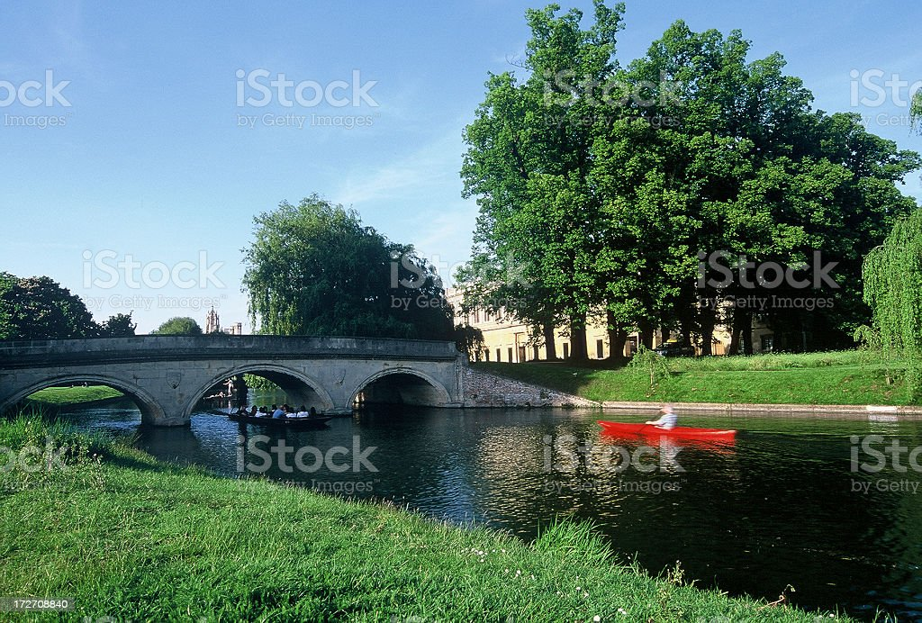 Punting in Cam River at Trinity College, Cambridge University stock photo