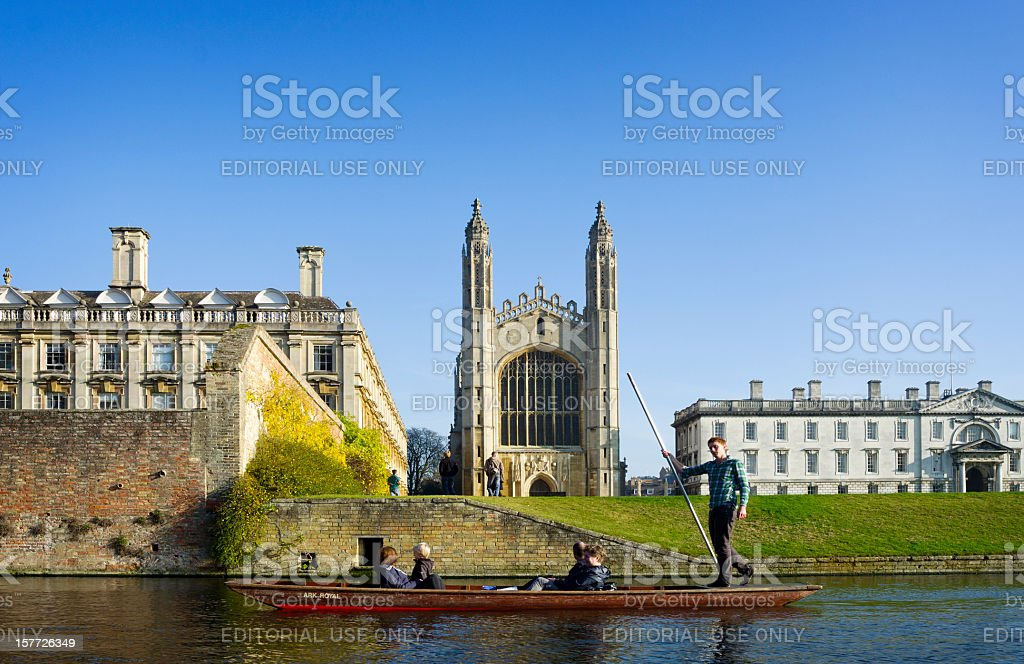 Punting in Cambridge near King's College stock photo