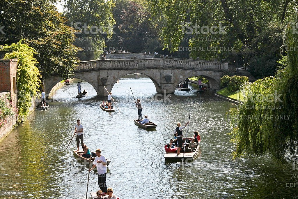 Punting in Cambridge stock photo