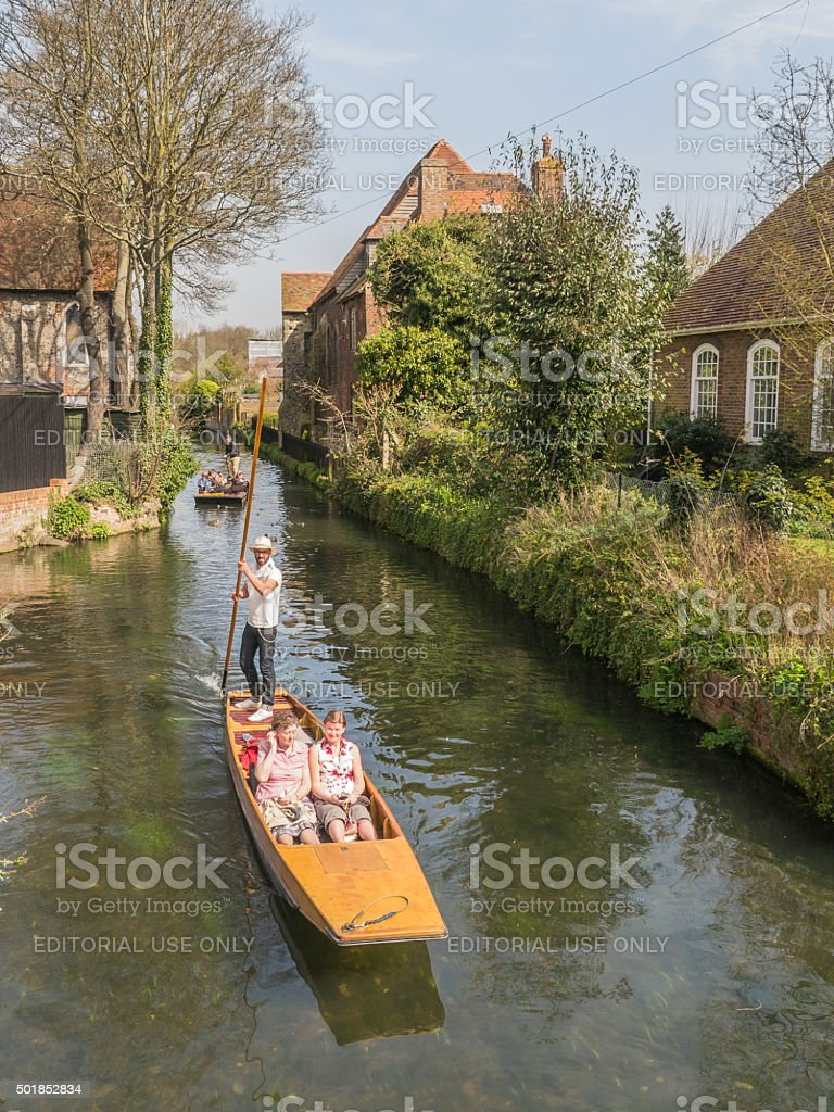 Punting in the sunshine in Canterbury stock photo