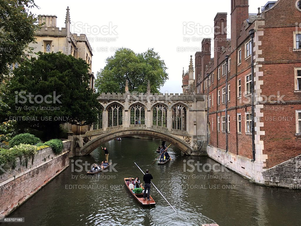 Punting near Bridge of Sighs of St John's College, Cambridge stock photo