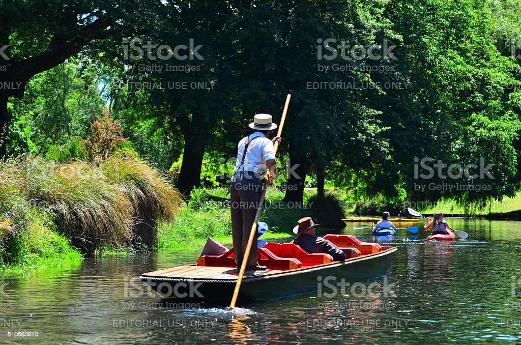 Punting on the Avon river Christchurch - New Zealand stock photo