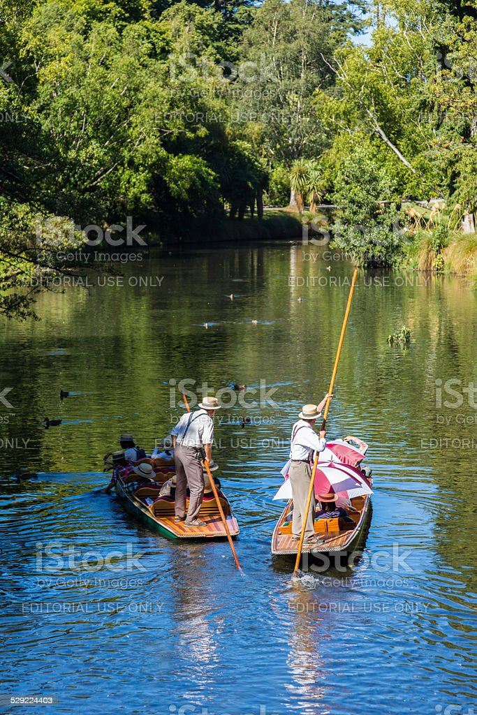 Punting on the Avon River, Christchurch, New Zealand stock photo