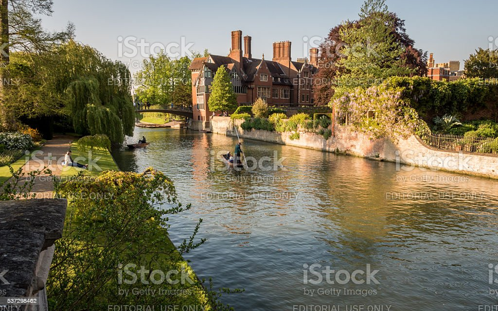 Punting on the River Cam, Cambridge, UK stock photo