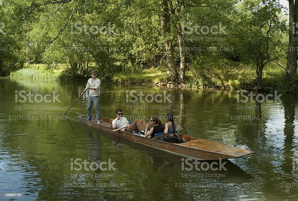 Punting on the river Cherwell, Oxford stock photo