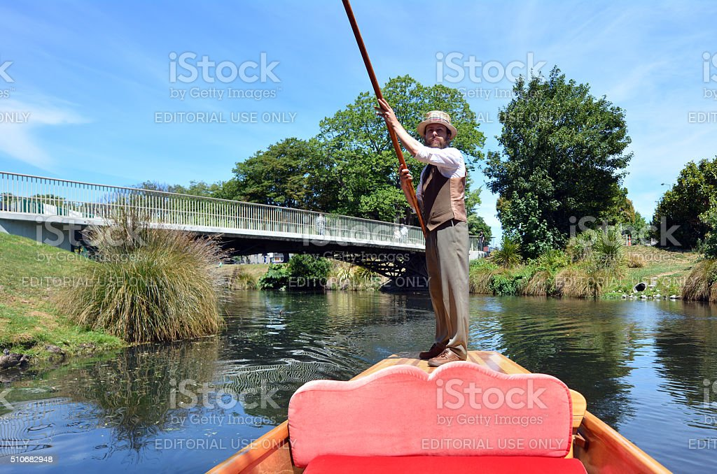 Punting sailor on the Avon river Christchurch - New Zealand stock photo