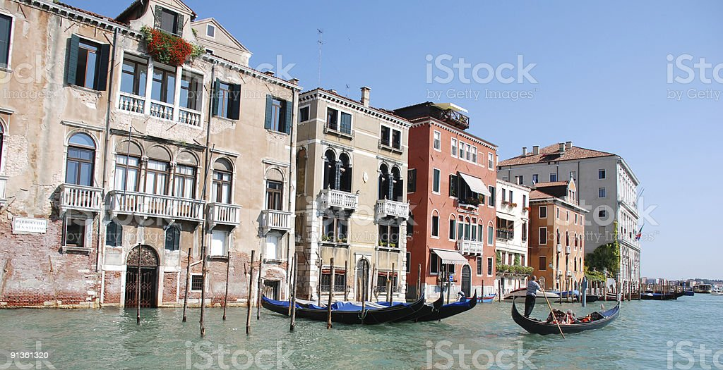 Punting the Grand Canal in Venice royalty-free stock photo