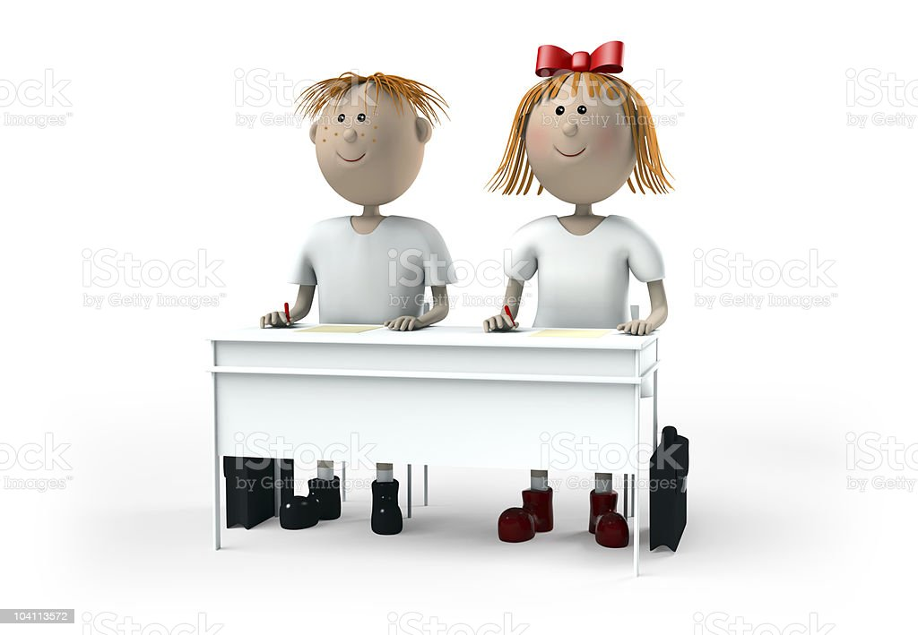 Pupils are near a desk royalty-free stock photo