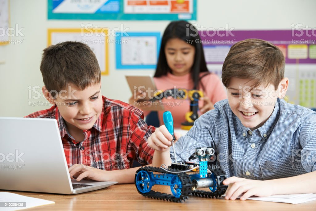 Pupils In Science Lesson Studying Robotics stock photo
