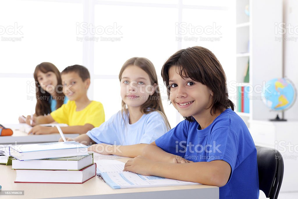 Pupils sitting on a lesson. royalty-free stock photo