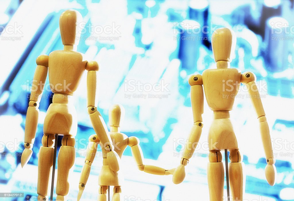 Puppet family looking into the bright future stock photo