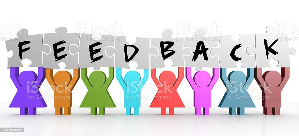 Puppet hold puzzle with feedback word on it stock photo