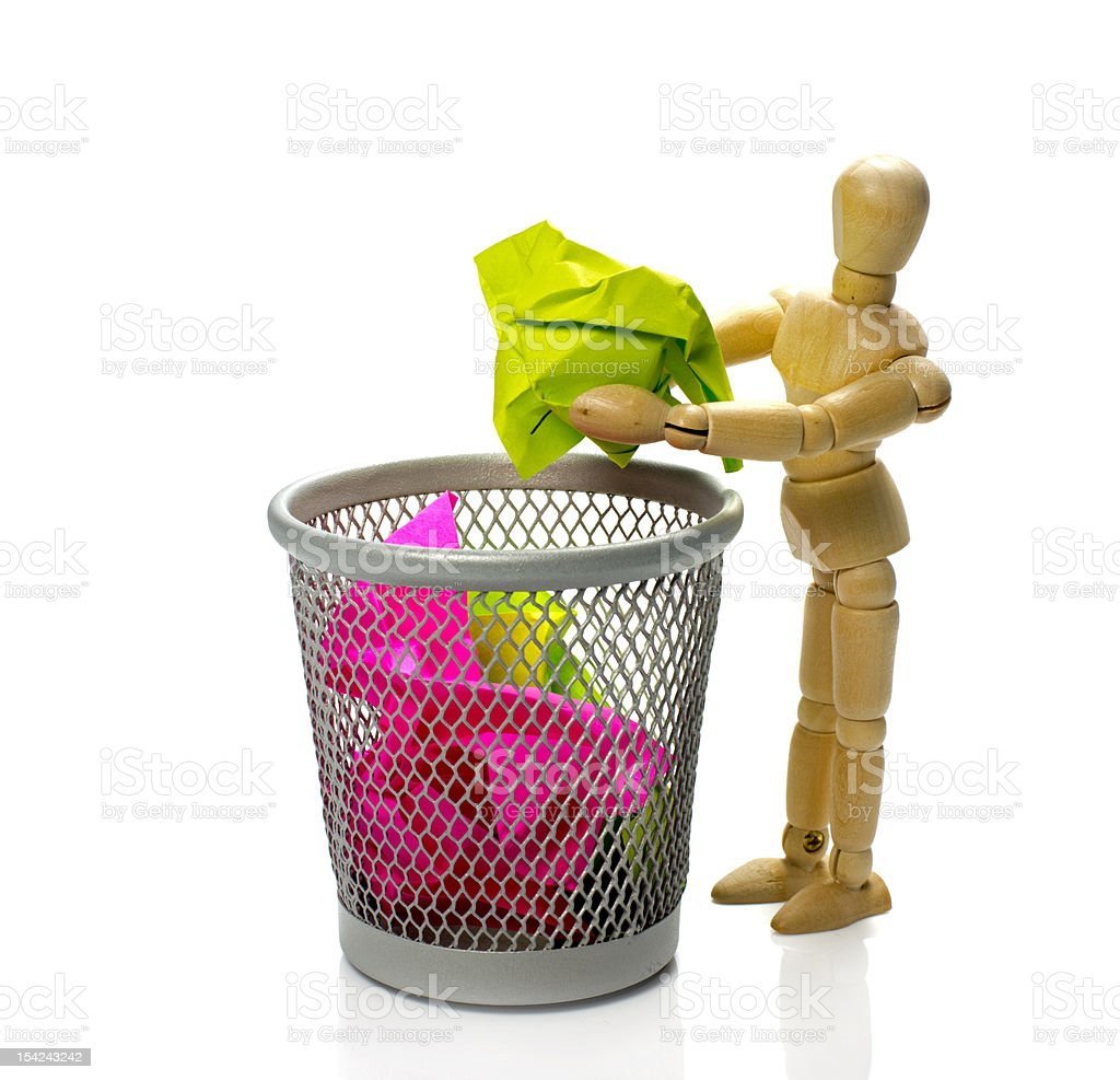 puppet throw  paper in trash can royalty-free stock photo