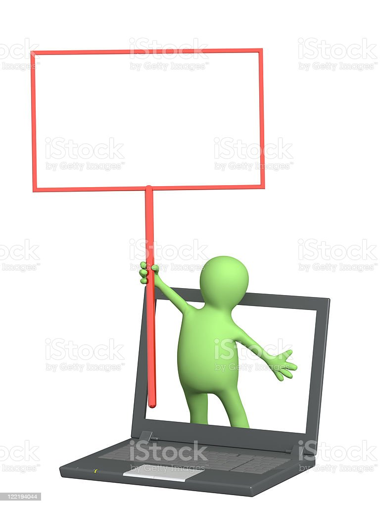 Puppet with information board royalty-free stock photo