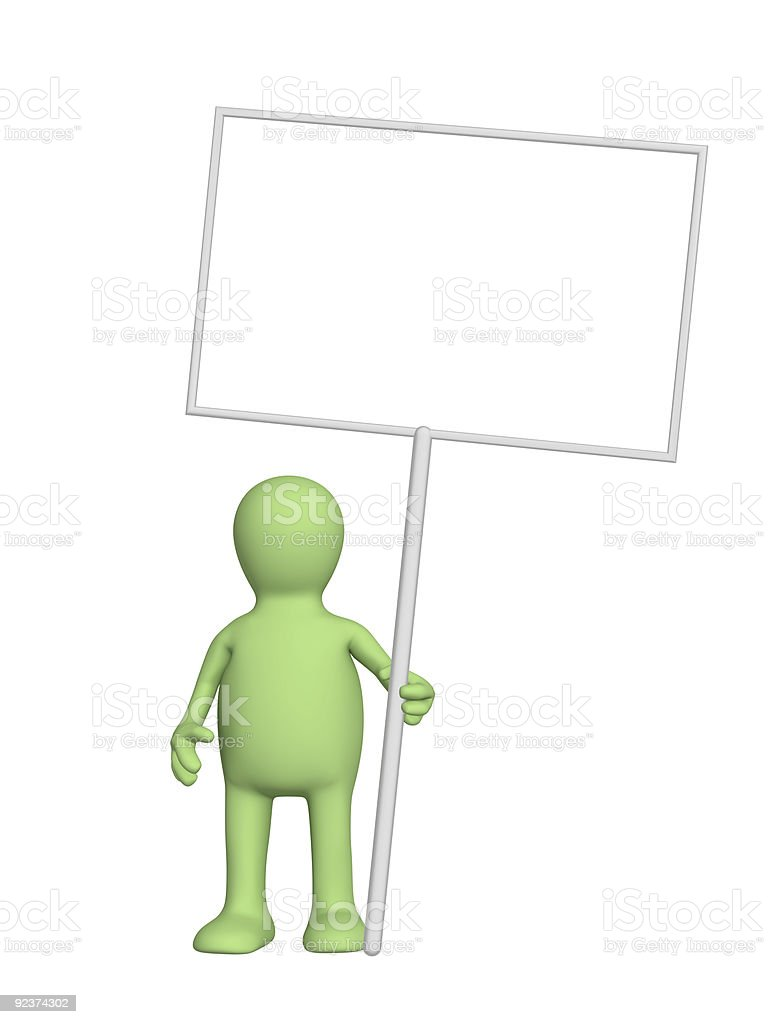Puppet with message boards royalty-free stock photo
