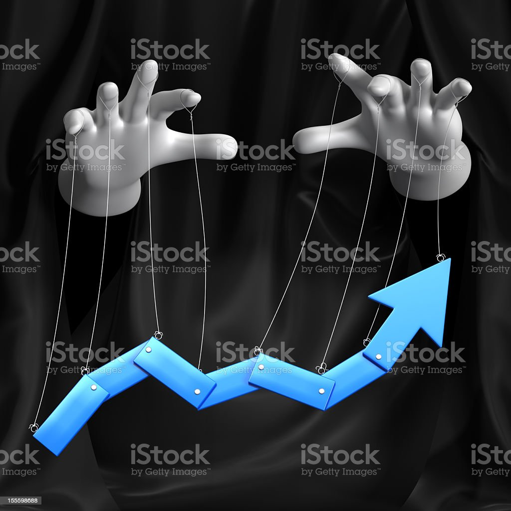 Puppeteer controlling the trend on a graph stock photo