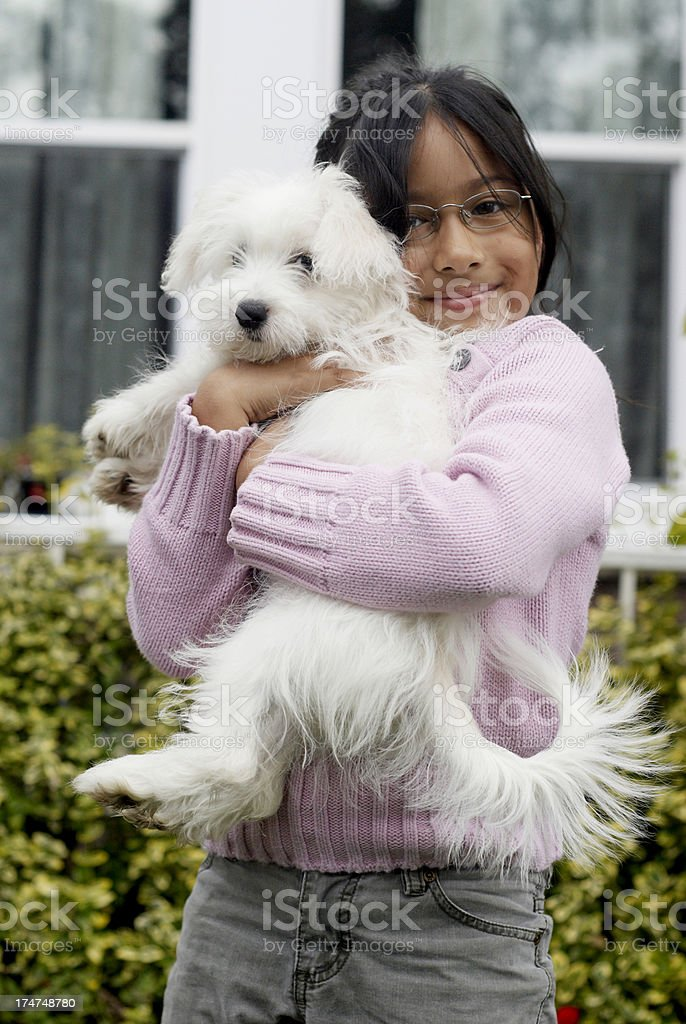 puppy and girl royalty-free stock photo