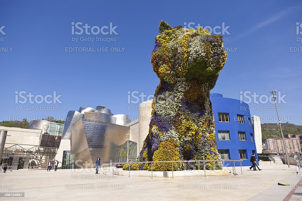 Puppy, floral sculpture in Bilbao, Spain stock photo