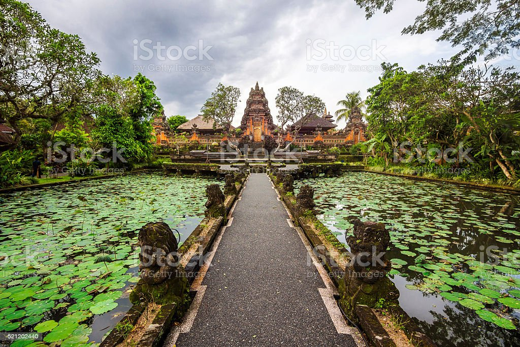 Pura Saraswati Temple in Ubud, Bali, Indonesia stock photo