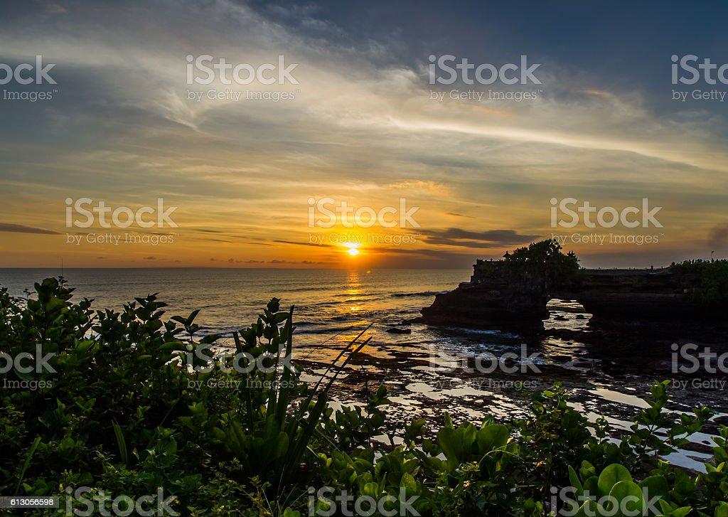 Pura Tanah Lot sunset stock photo