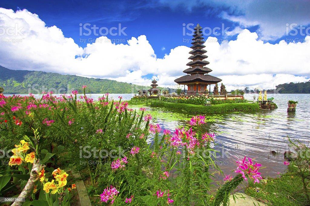 Pura Ulu Danau Lake temple bali blue dawn sky stock photo