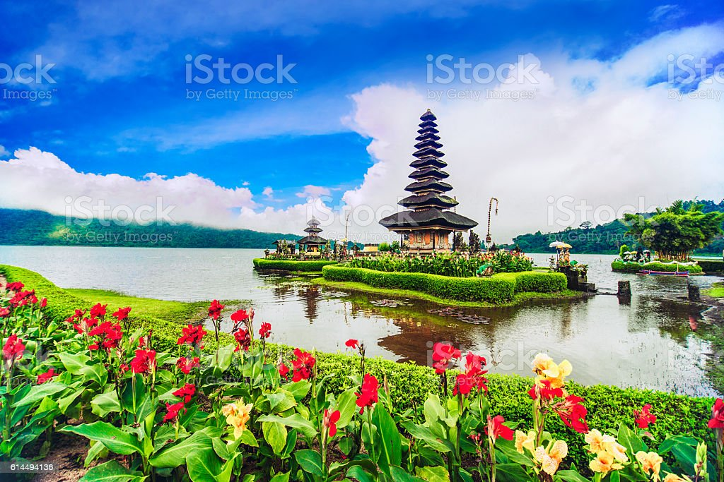Pura Ulun Danu Beratan the Floating Temple in Bali, Indonesia stock photo