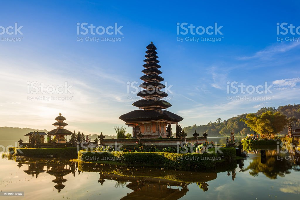 Pura Ulun Danu Bratan at sunrise, Bali stock photo