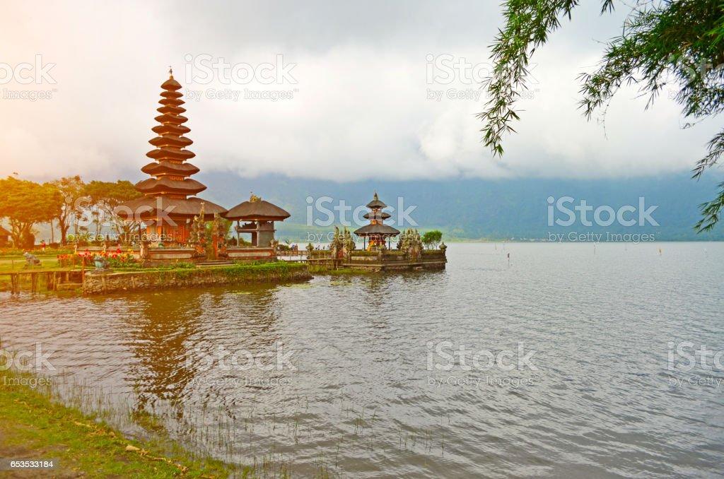 Pura Ulun Danu Bratan, Bali lake water mountain stock photo