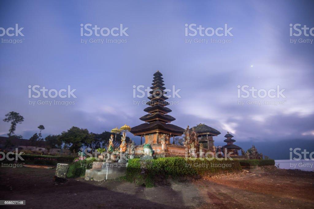 Pura Ulun Danu Bratan before sunrise, Hindu temple in Bratan lake  Bali, Indonesia stock photo
