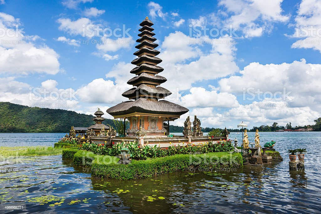 Pura Ulun Danu Bratan Temple on Bali in Indonesia stock photo
