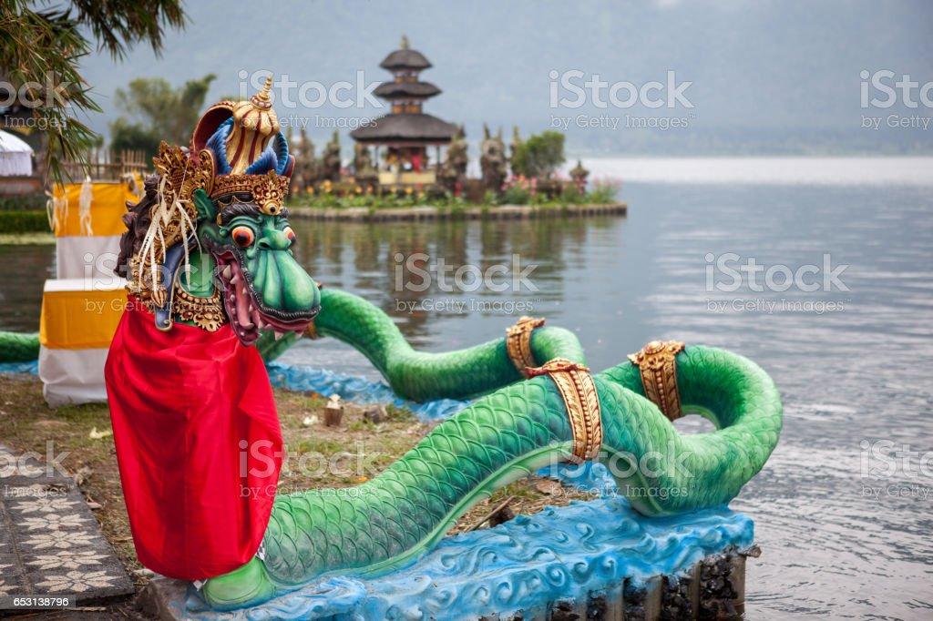 Pura Ulun Danu Bratan temple on Beratan lake in Bali island, Asia. symbol of Indonesia stock photo