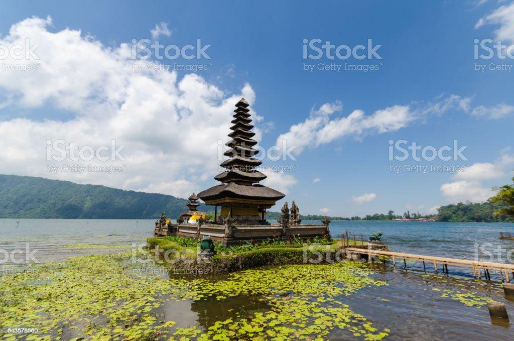 Pura ulun danu bratan temple on lake in bali indonesia stock photo