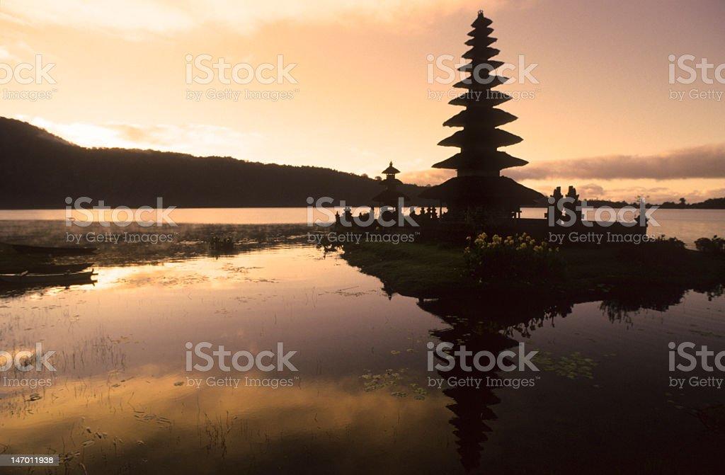 Pura Ulun Danu Temple, Lake Bratan, Bali, Indonesia at Sunrise royalty-free stock photo
