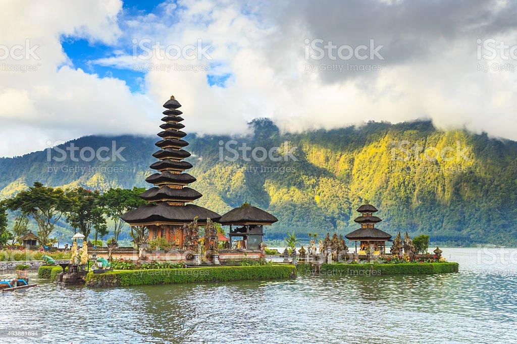Pura Ulun Danu temple on a lake Beratan, Bali, Indonesia stock photo