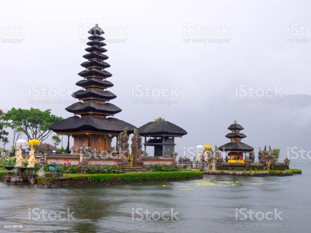 Pura Ulun Danu temple on a lake Beratan in Bali. stock photo