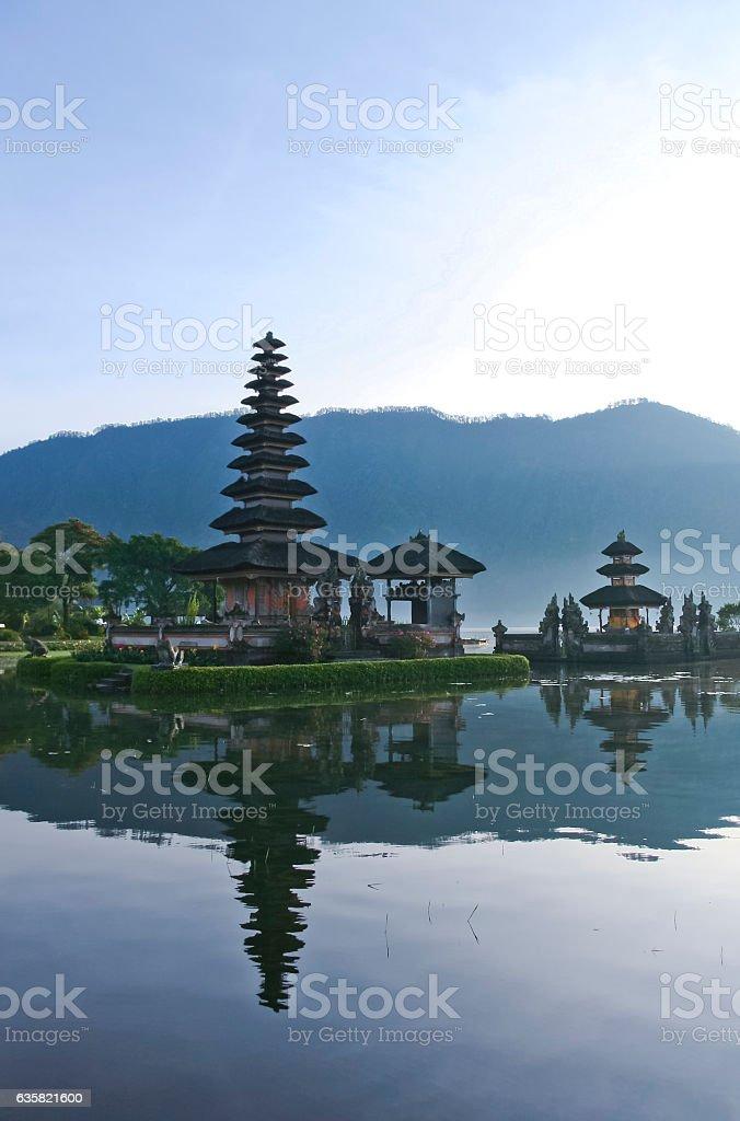 Pura Ulun Danu water temple lake brataan bali stock photo