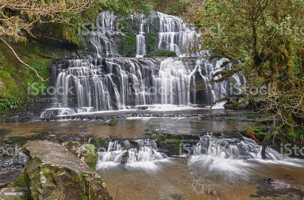 Purakaunui Falls in The Catlins, New Zealand stock photo